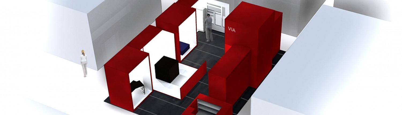architecture 3d pour un stand pour les professionnels du design